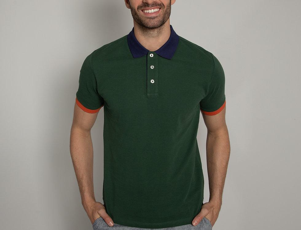 Polo in piquet - verde con colletto a contrasto