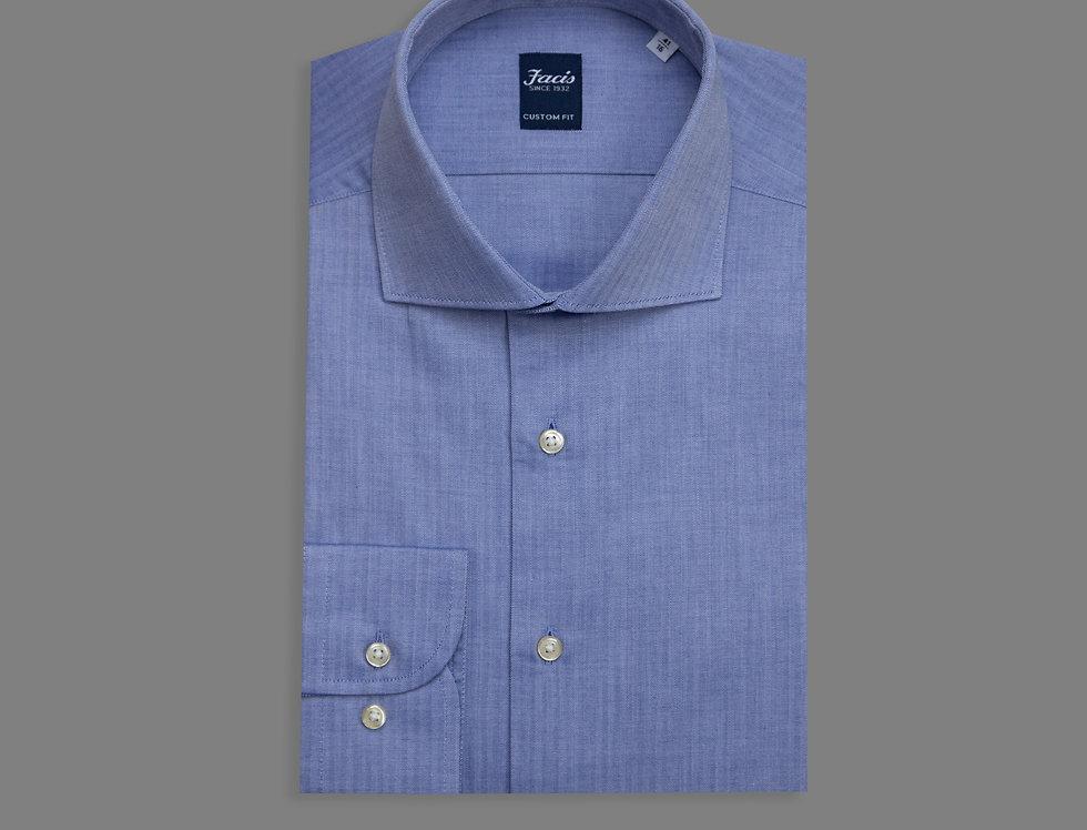 Camicia spigata di puro cotone blu jeans