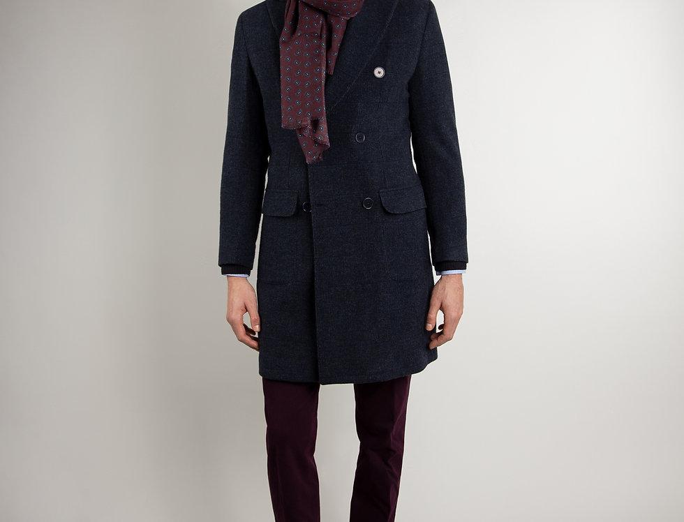 Cappotto in pura lana Biellese doppiopetto blu navy