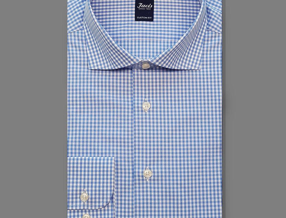 Camicia Popeline quadri azzurro