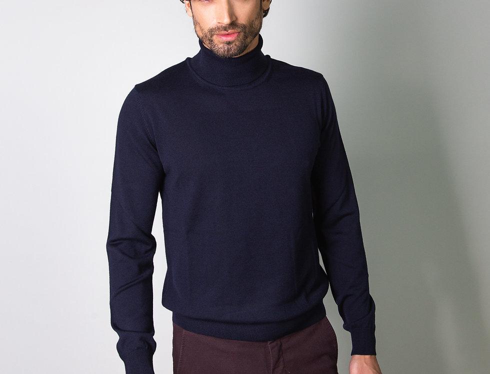 Dolcevita 100% lana blu navy