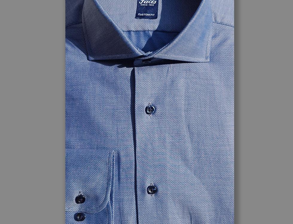 Camicia in puro cotone fantasia blu avion
