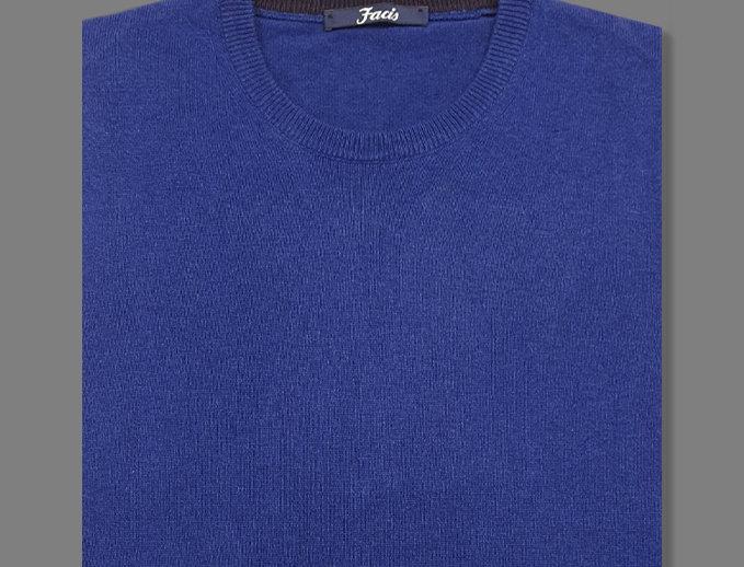 Girocollo misto cashmere blu elettrico