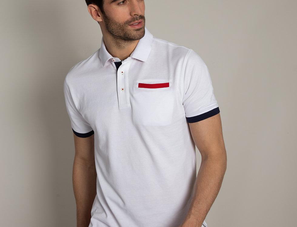 Polo in piquet - bianco con taschino a contrasto