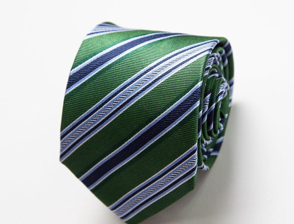 Cravatta pura seta regimental verde
