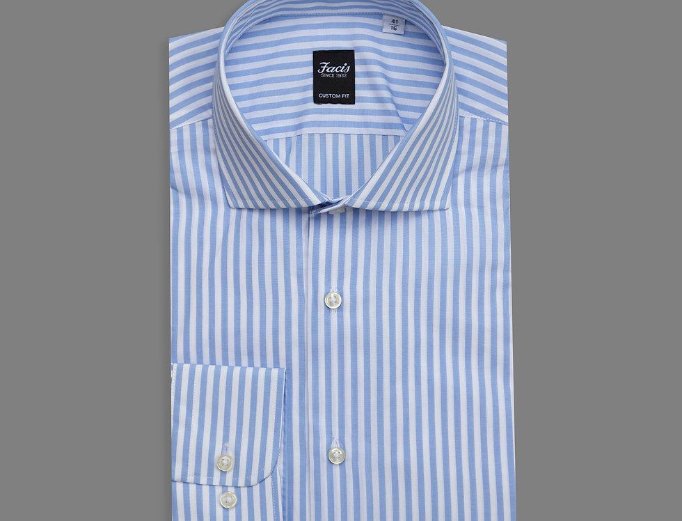 Camicia di puro cotone a righe celeste