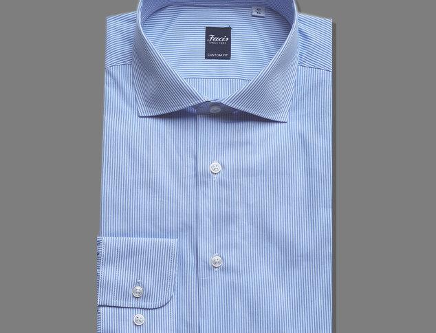 Camicia bianca a righe azzurro