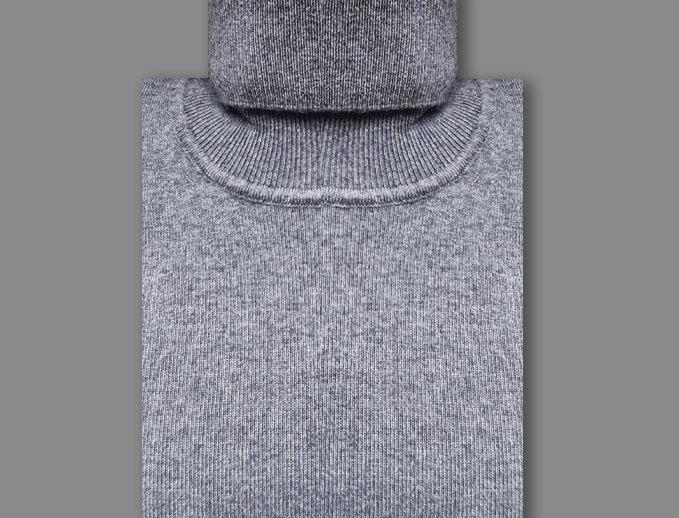 Dolcevita misto cashmere grigio scuro