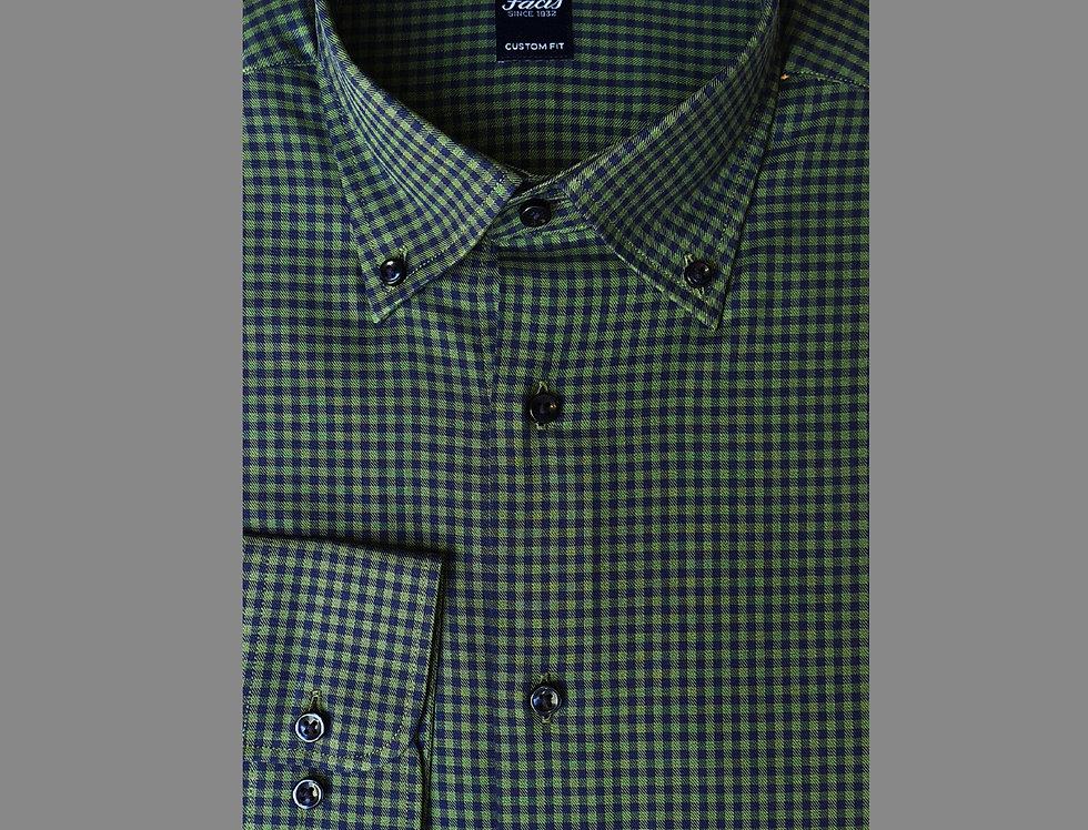 Camicia button down a quadri in flanella blu/verde