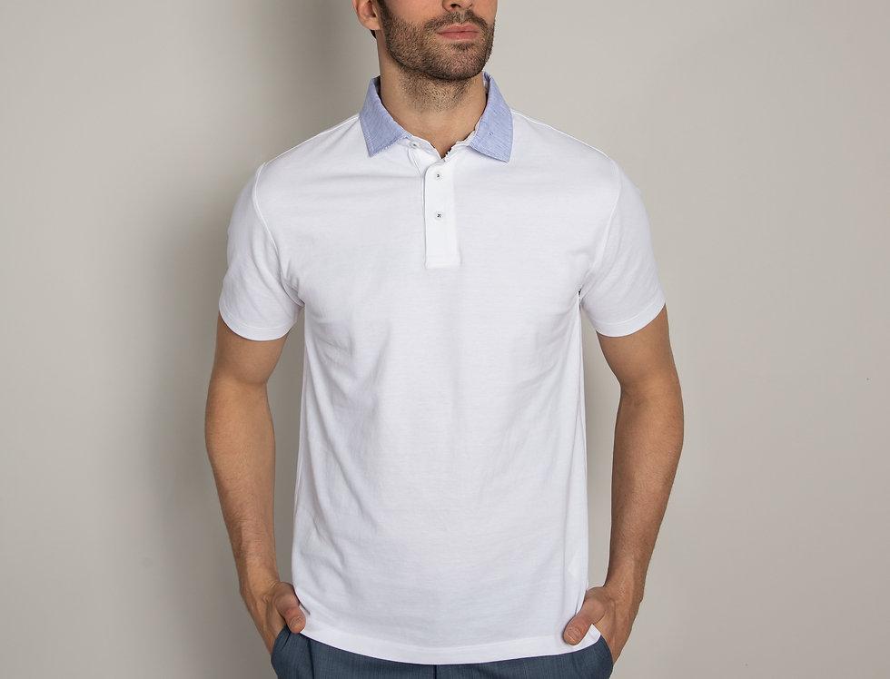 Polo in piquet - bianca  colletto a righe bianco e azzurro