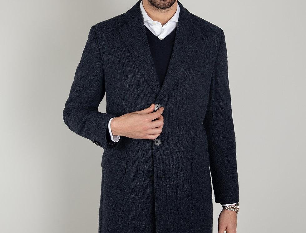 Cappotto in pura lana Biellese 3 bottoni blu navy