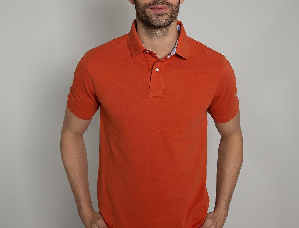 Polo in piquet - arancione due bottoni