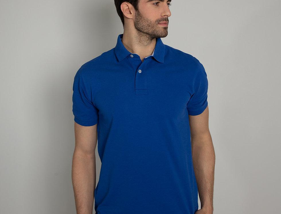 Polo in piquet - blu royal due bottoni