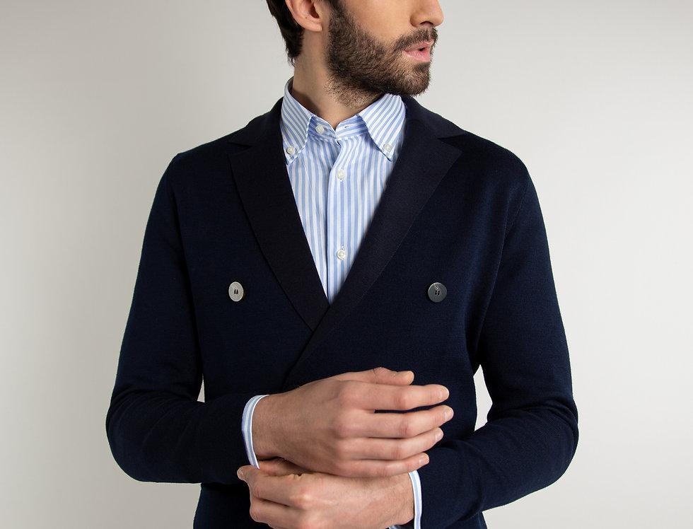 Giacca in maglia doppiopetto blu navy