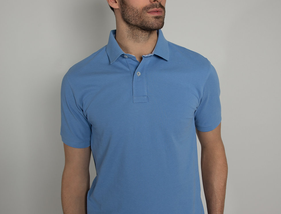 Polo in piquet - azzurro due bottoni