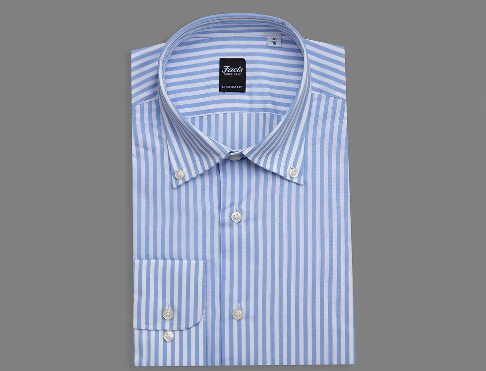 Camicia botton down di puro cotone a righe celeste