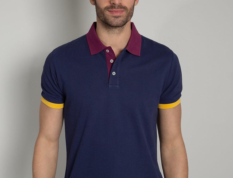 Polo in piquet - blu con colletto a contrasto