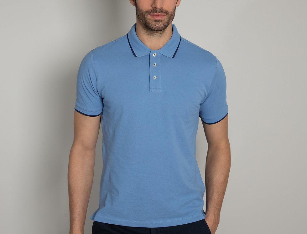 Polo in piquet - azzurro con profili blu