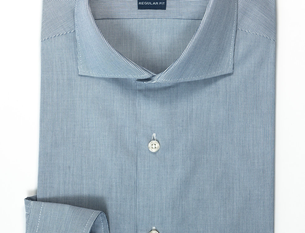 Camicia Regular collo francese bacchettato blu