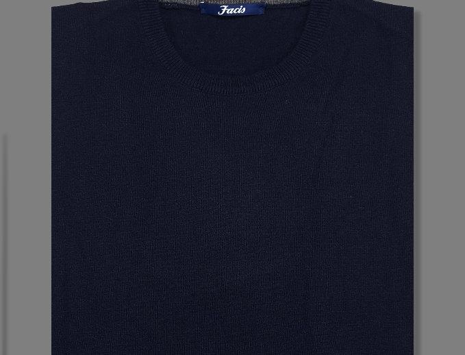 Girocollo misto cashmere blu navy
