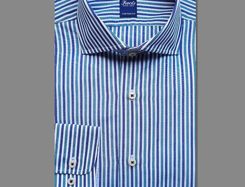 Camicia in puro cotone a righe bianco/blu/verde