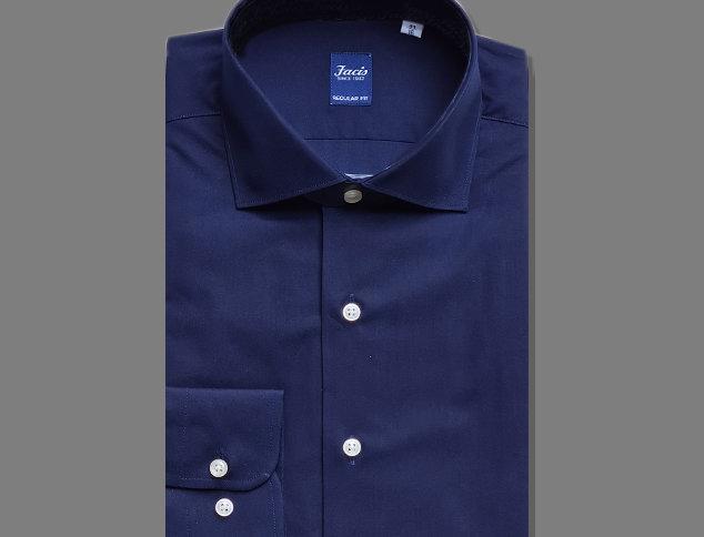 Camicia in popeline in puro cotone blu navy