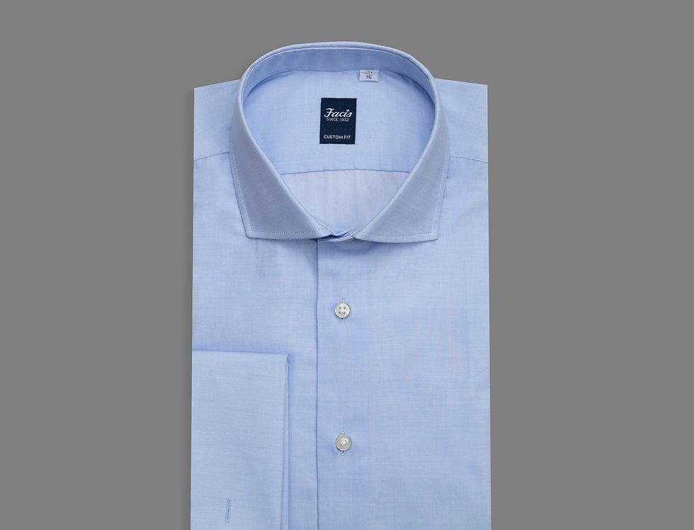 Camicia in jacquard  di puro cotone celeste con polso doppio gemello