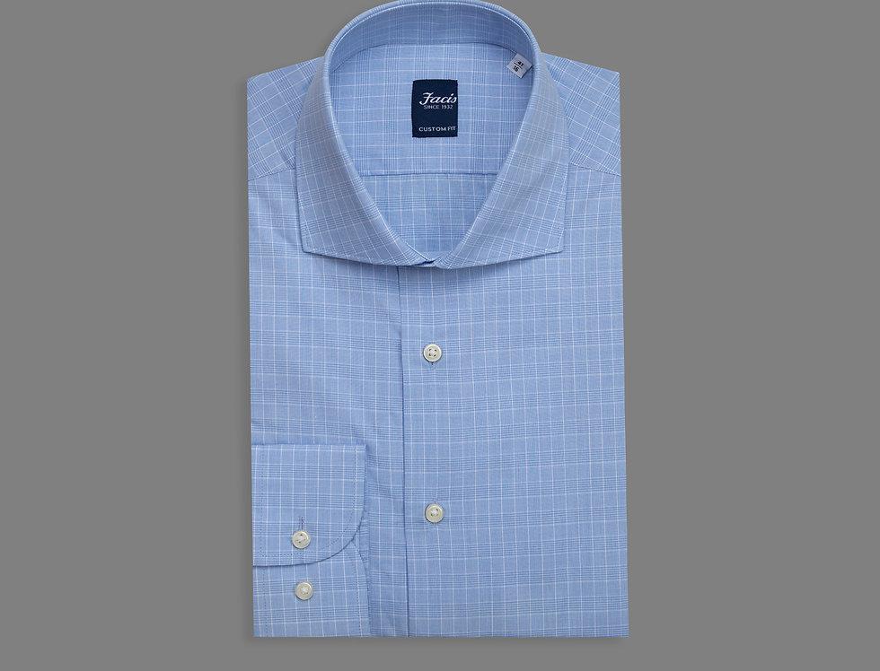 Camicia quadretto vichy di puro cotone celeste