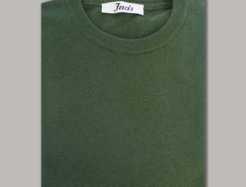 Girocollo misto cashmere verde felce
