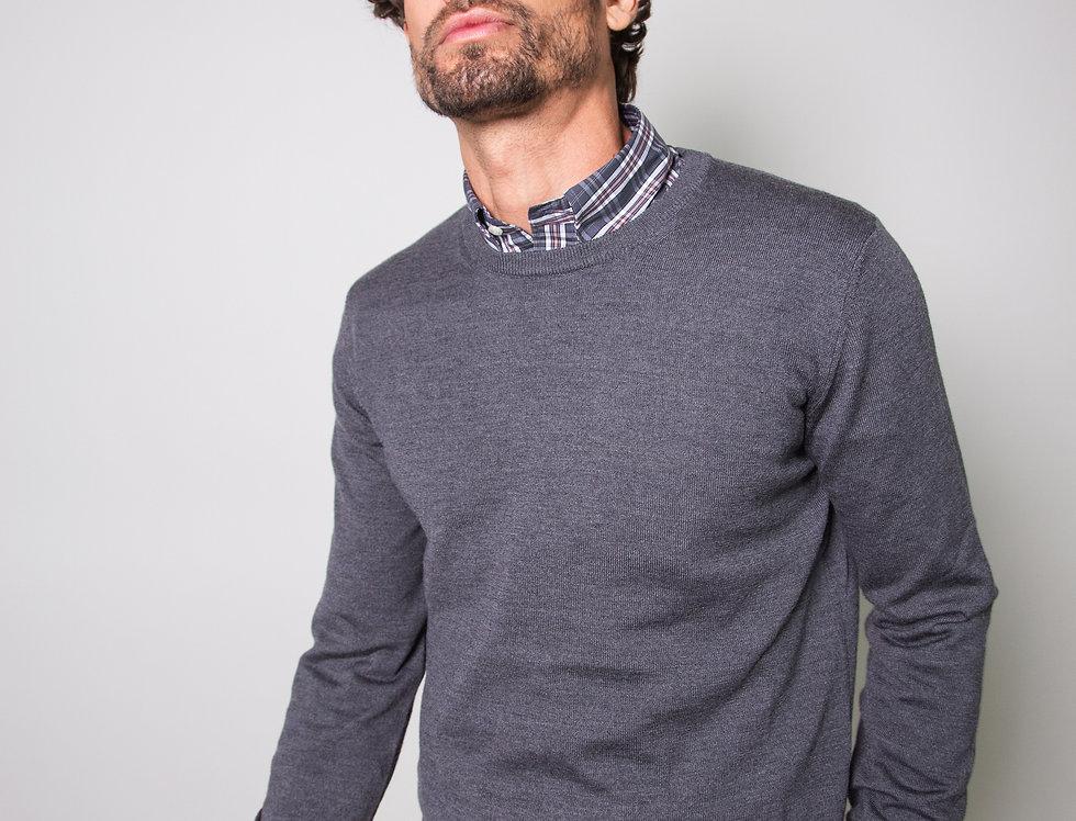 Girocollo 100% lana grigio ferro