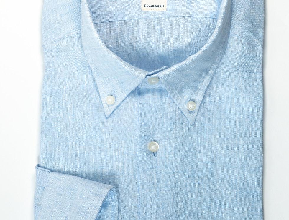 Camicia Lino  Regular collo botton down Azzurro