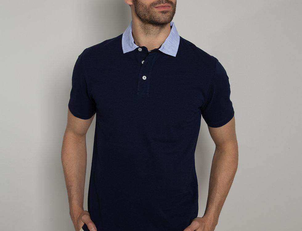 Polo in piquet - blu colletto righe bianco e azzurro