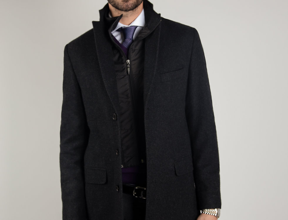 Cappotto in pura lana Biellese 3 bottoni con paravento estraibile