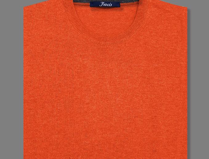 Girocollo misto cashmere arancione