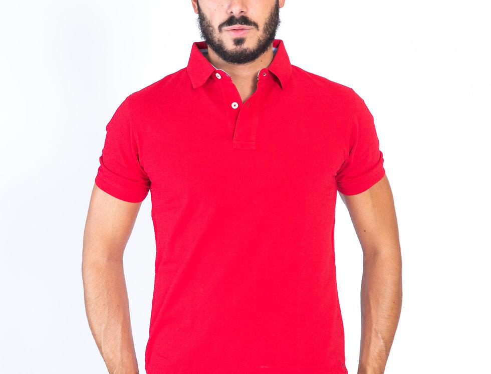 Polo rossa in piquet cotone