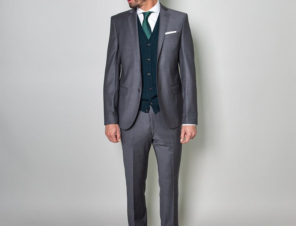 Abito in lana stretch grigio melange -Trendy - slim fit