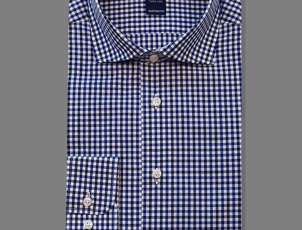 Camicia Popeline quadri bianco/blu