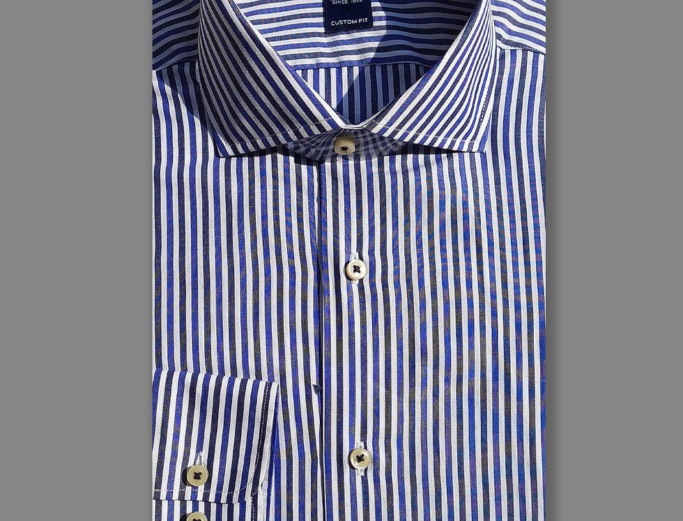 Camicia in puro cotone a righe bianco/blu/royal