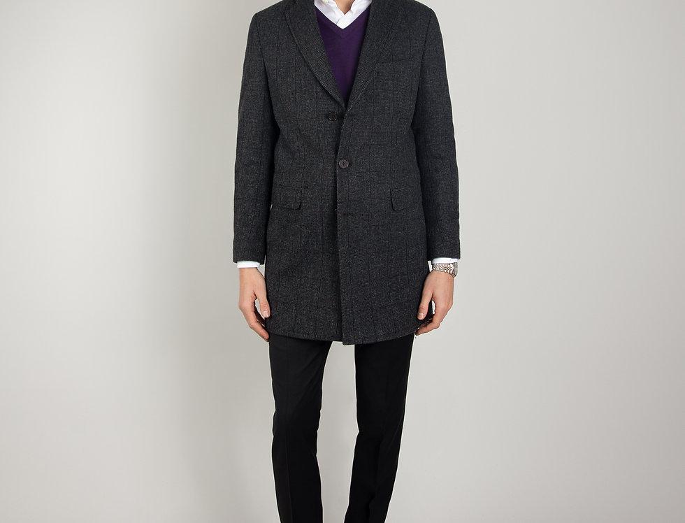 Cappotto in pura lana Biellese 3 bottoni grigio