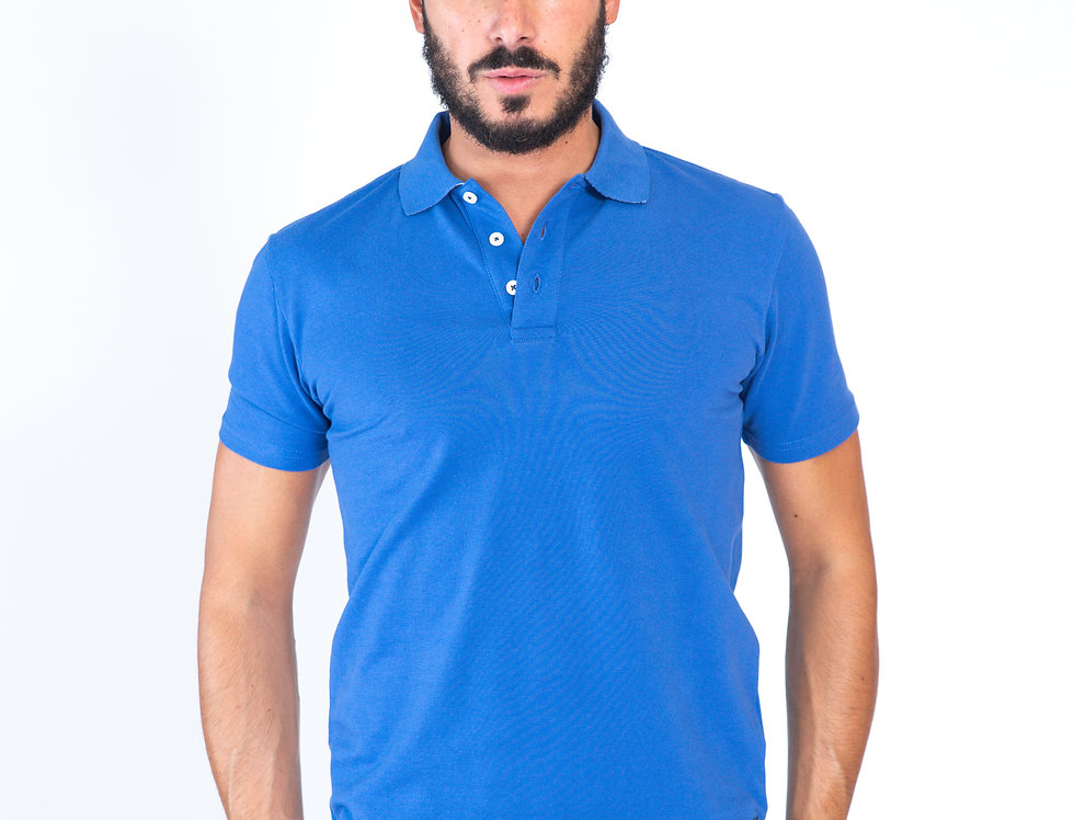 Polo blu in piquet