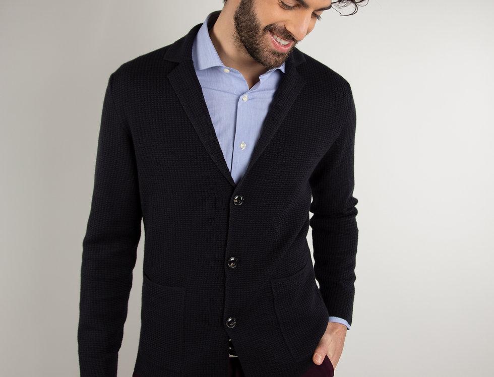 Giacca in maglia strutturata blu navy