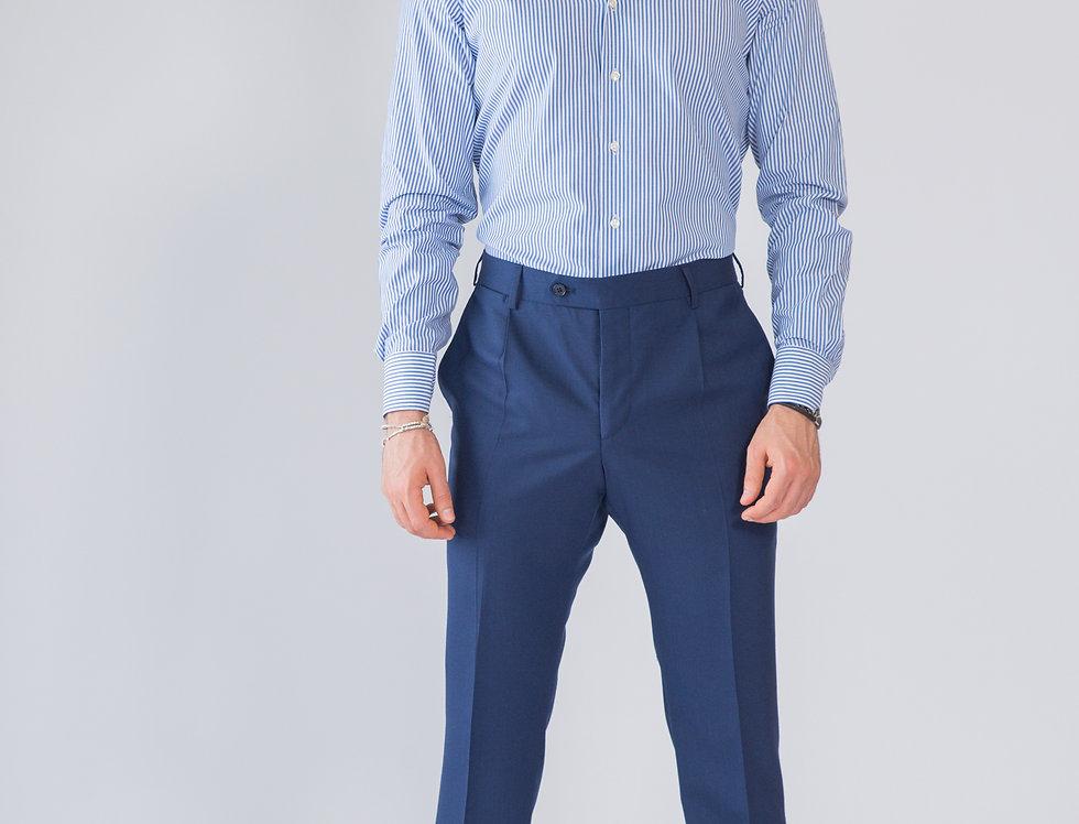 Pantalone classico vestibilita' regular blu con pinces