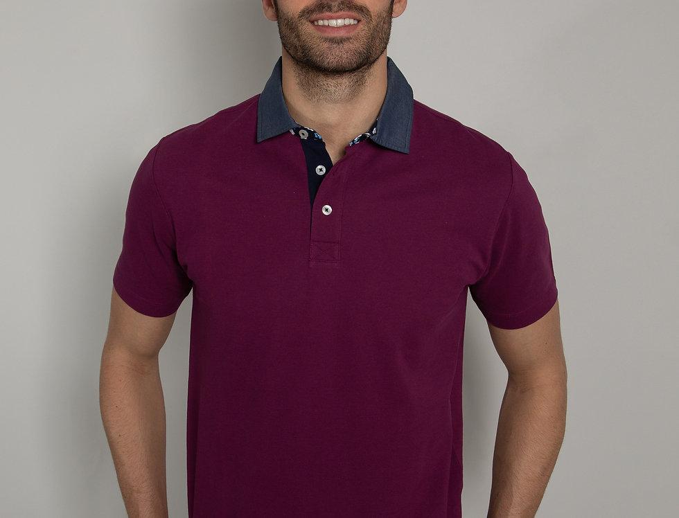 Polo in piquet - magenta con colletto denim
