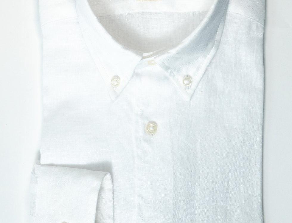 Camicia Lino Regular  collo button down Bianco