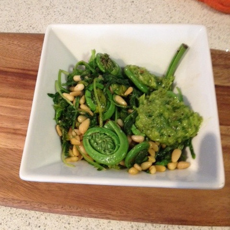 The Whitest Snack You'll Ever Eat: Fiddleheads, Kale and Pine Nuts with Ramp Pesto