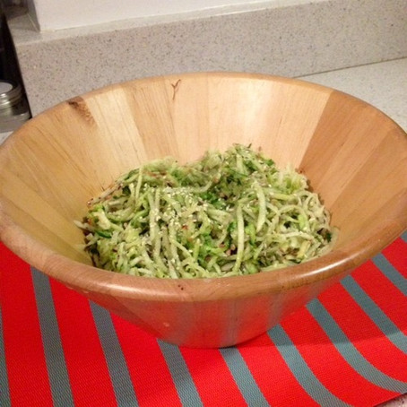 Kohl-rabi Slaw with Apple, Cucumber and Miso Dill Dressing