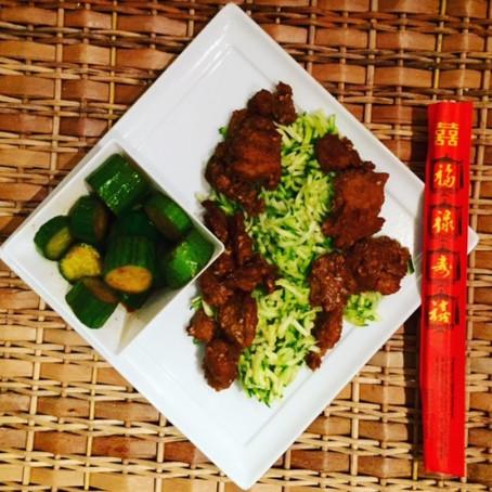 Cumin Seitan with Spicy Cucumber Salad and Zucchini Rice