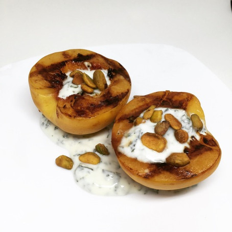 Grilled Peaches with Yogurt, Mint, Pistachio, and Honey