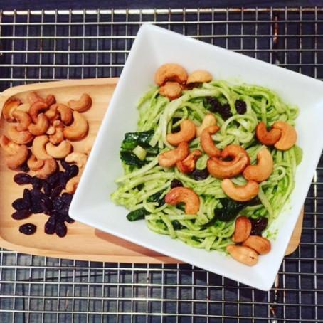 Udon Noodles with Creamy Vegan Ramp and Dandelion Pesto