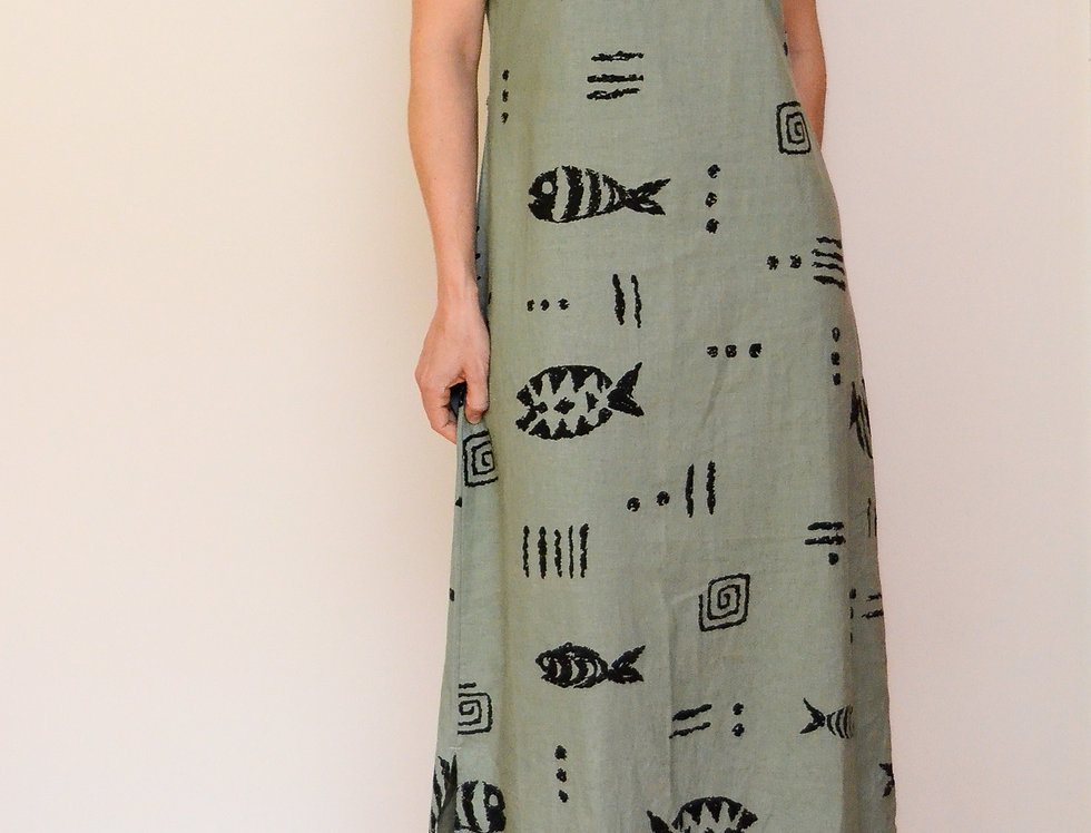 Fishbone Linen Dress